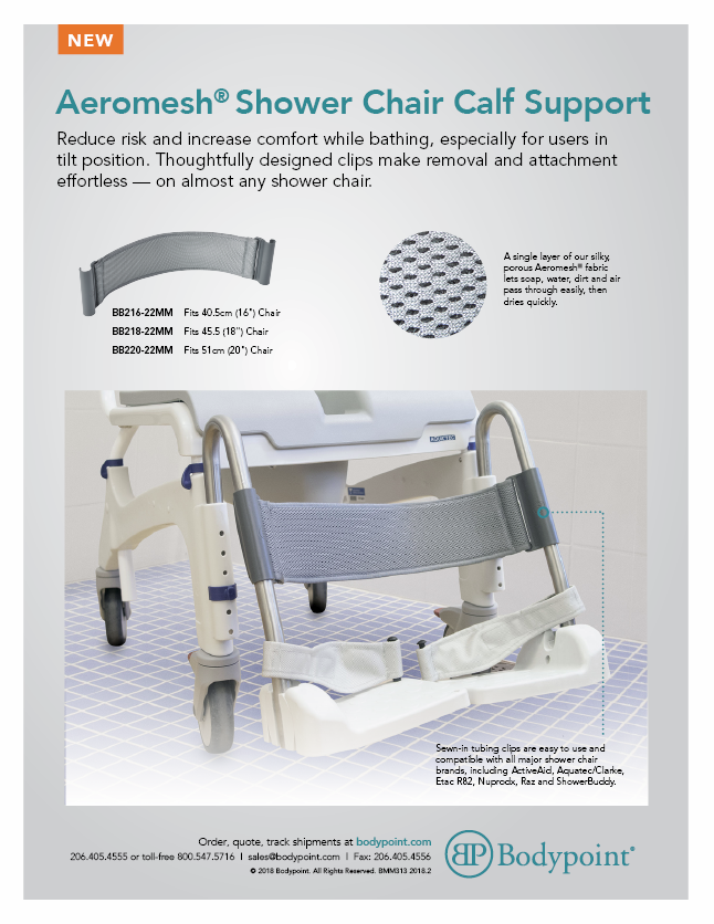 Shower Chair Calf Support Sell Sheet