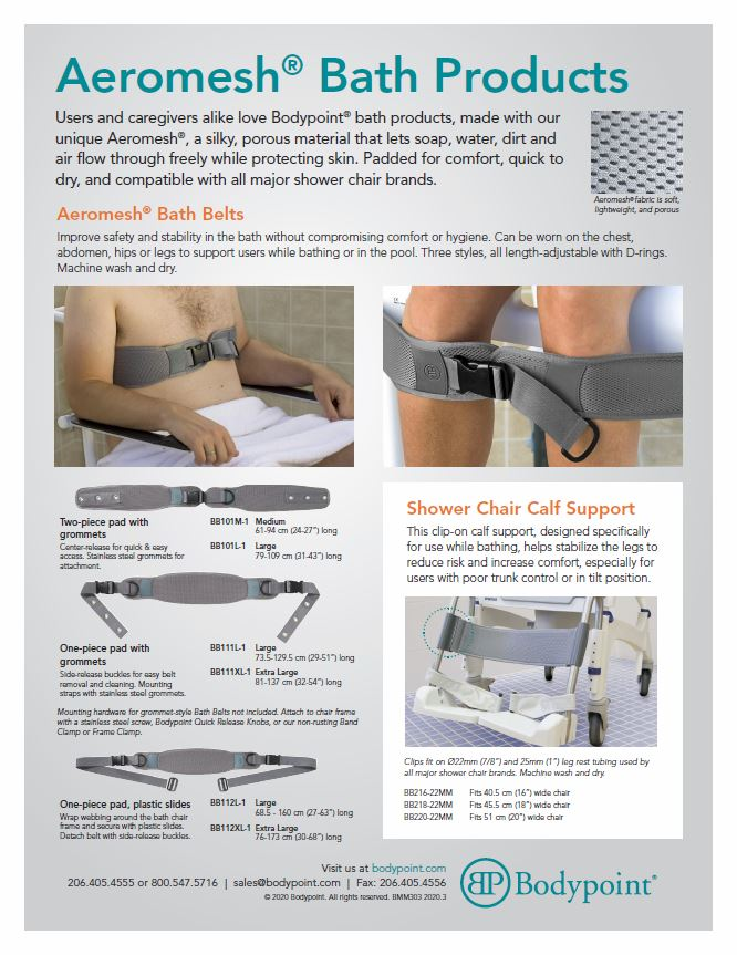 Aeromesh Bath Product Sell Sheet